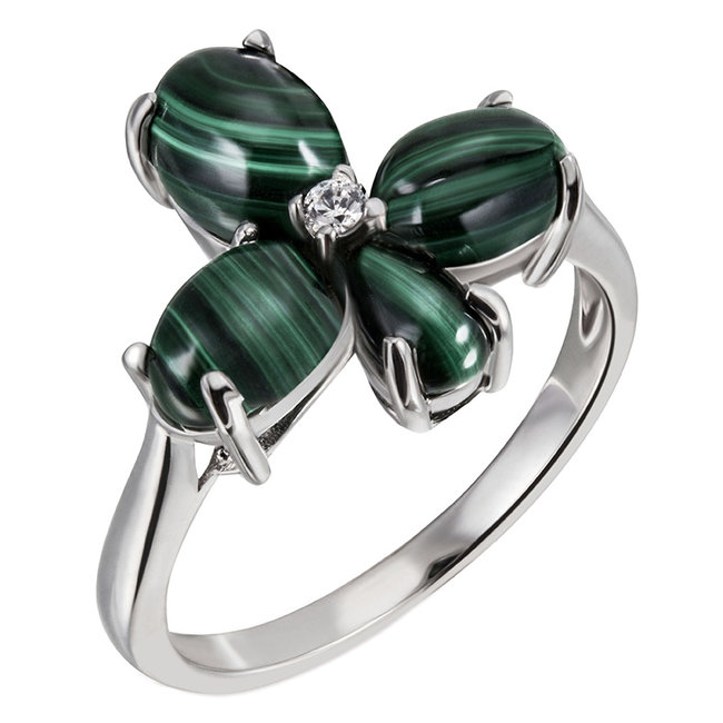 Sterling silver ring with Malachite cabochons en zirconia
