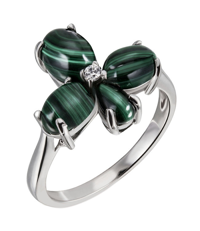 Aurora Patina Sterling silver ring with Malachite cabochons en zirconia