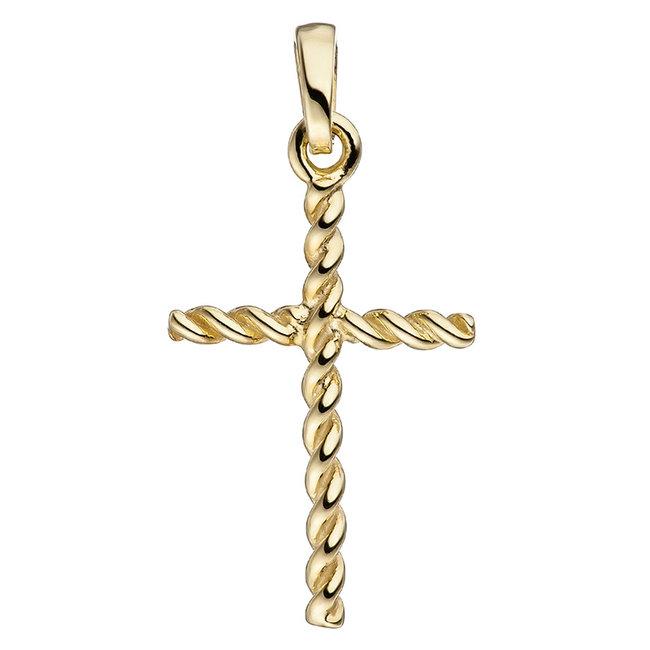 Aurora Patina Gouden hanger kruis Twist 333 goud