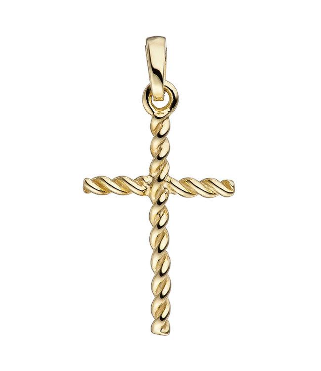 Aurora Patina Goldanhänger Kreuz Twist 8 karat