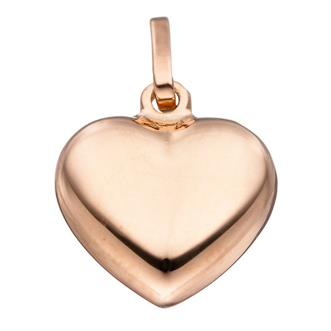 Silver pendant heart  red gold plated