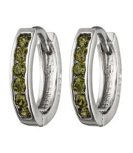 JOBO Silver earrings creoles with green zirconia