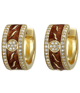 JOBO Gold plated creole earrings with enamel and zirconia