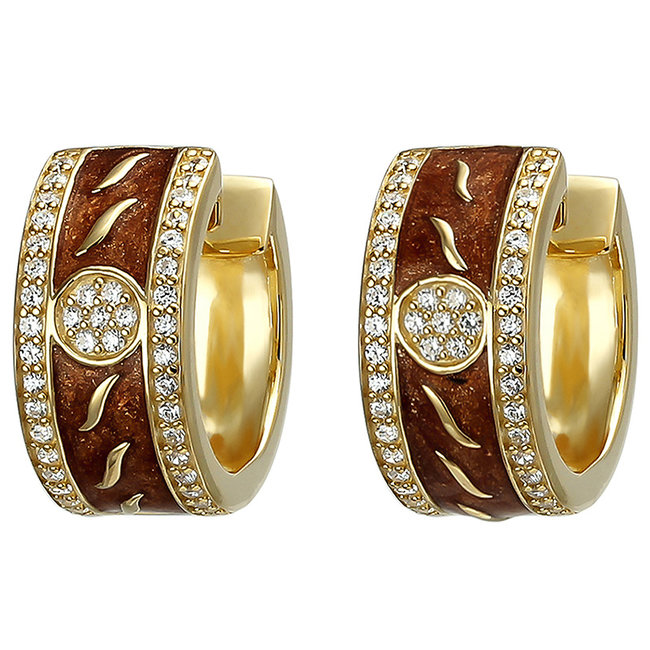 Aurora Patina Gold plated creole earrings with enamel and zirconia