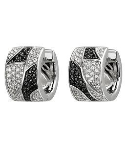 JOBO Zilveren creolen met zwart en witte zirkonia