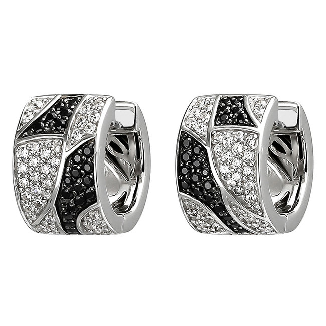 Silver creole earrings with black and white zirconia