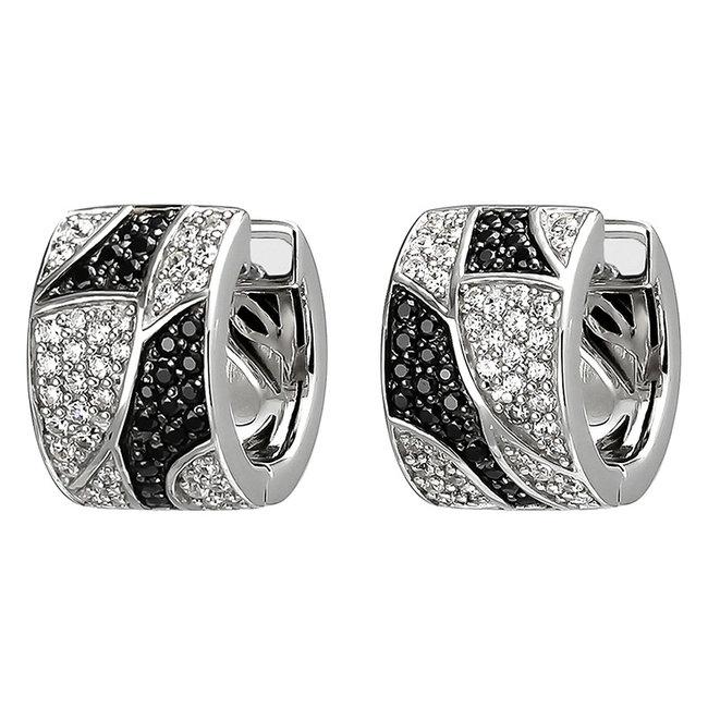 Zilveren creolen met zwart en witte zirkonia