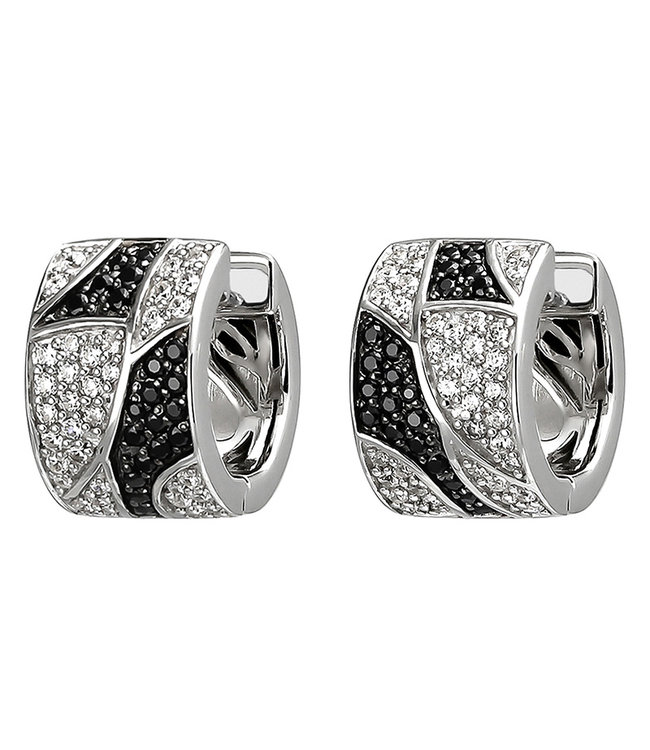 JOBO Silver creole earrings with black and white zirconia