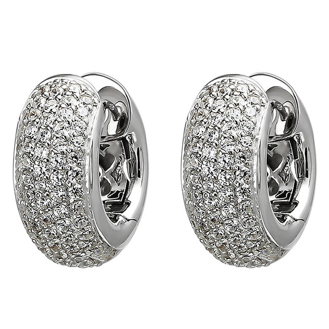 Creool oorbellen in 925 sterling zilver met 146 zirkonia's