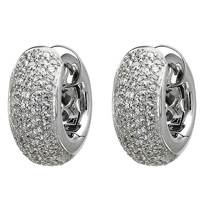 Hoop earrings in 925 sterling silver with 146 zirconias