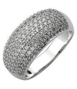 Aurora Patina Silver ring with 158 zirconias