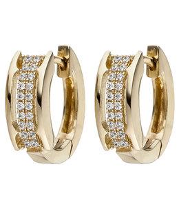 JOBO Gold plated creole earrings with 40 zirconia