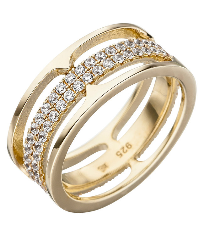 JOBO Gold plated ring  with 88 zirconias size 50