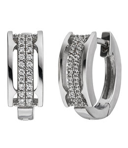 JOBO Silver creole earrings with 40 zirconias