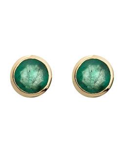 Aurora Patina Gouden oorknopjes met 2 groene smaragden