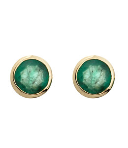 JOBO Gold stud earrings with 2 green emeralds