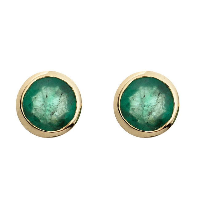 Aurora Patina Gold stud earrings with 2 green emeralds
