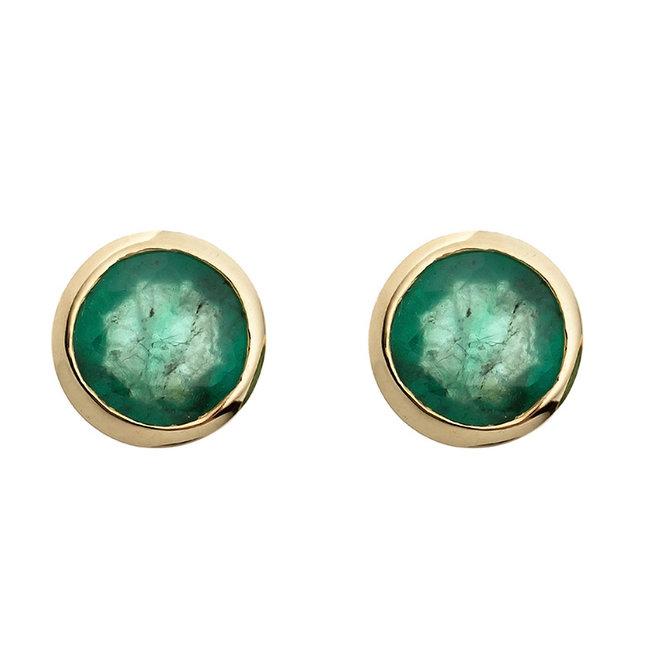 Gold Ohrstecker 8 Karat (333) mit 2 grünen Smaragden