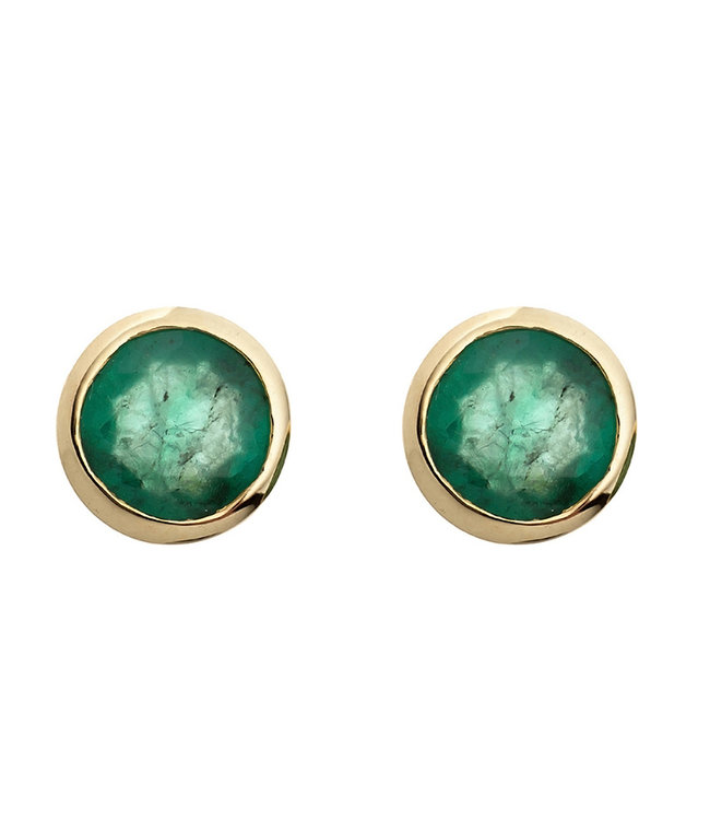 JOBO Gold earstuds 8 carat (333) with 2 green emeralds