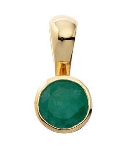 Aurora Patina Gouden hanger met groene smaragd