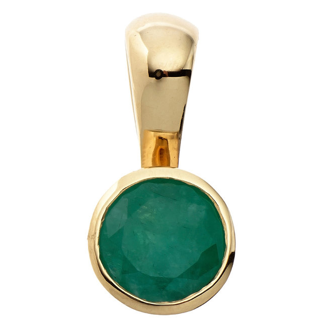 Aurora Patina Gold pendant with a green emerald