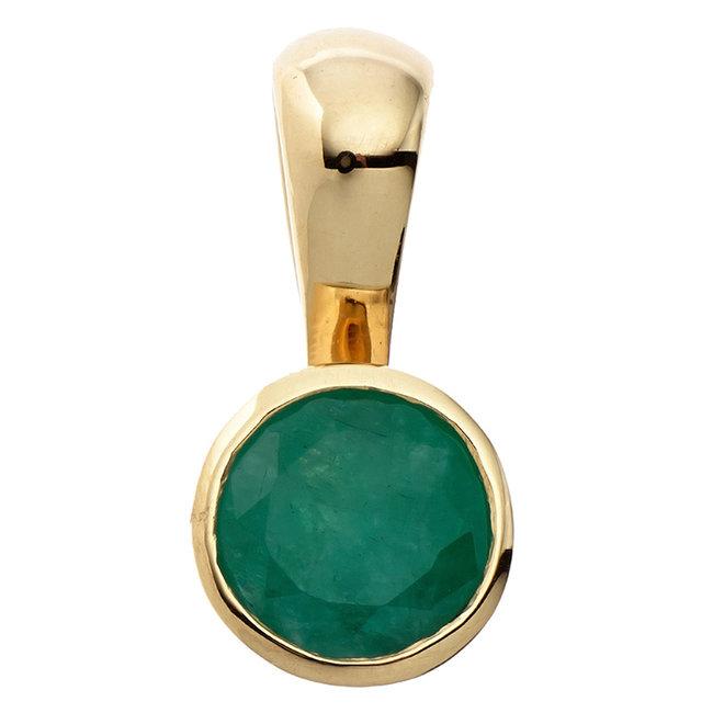 Gouden hanger 8 kt. (333) met groene smaragd