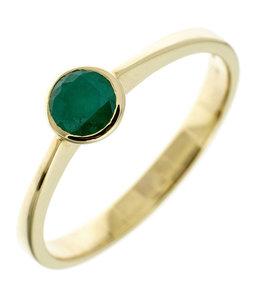 JOBO Gouden ring met groene smaragd
