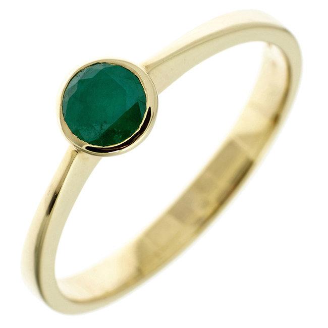 Gouden ring 8 kt. (333) met groene smaragd