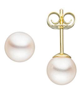 JOBO Pareloorknopjes goud met Akoya parels ca. 6 mm