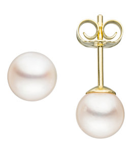JOBO Pearl earstuds gold with Akoya pearls approx. 6 mm