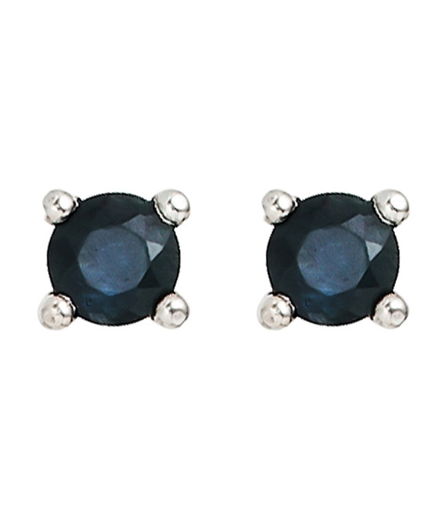JOBO Sterling silver earstuds with blue sapphire