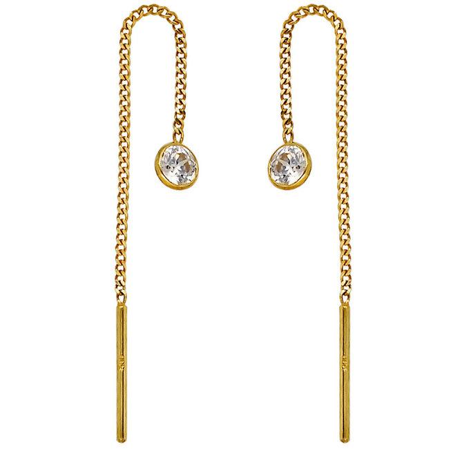 Golden threaded earrings 8 carat with zirconia