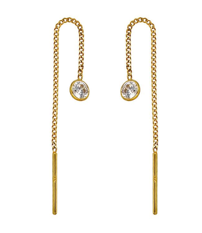 JOBO Gouden doorrijg oorbellen 8 karaat met zirkonia