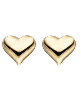 Aurora Patina Gouden oorknopjes hartjes