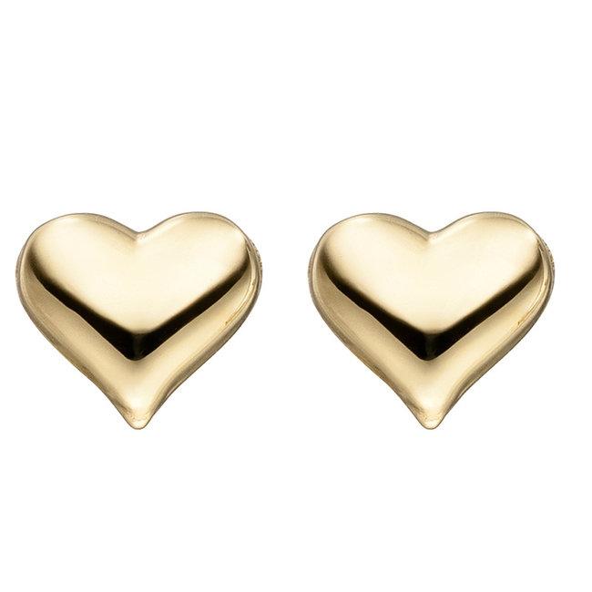 Gouden oorknopjes hartjes 8 karaat (333)