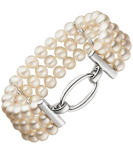 JOBO Pearl bracelet with three rows freshwater pearls