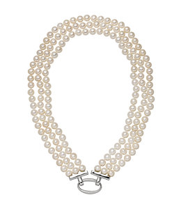 Aurora Patina Pearl necklace with three rows freshwater pearls