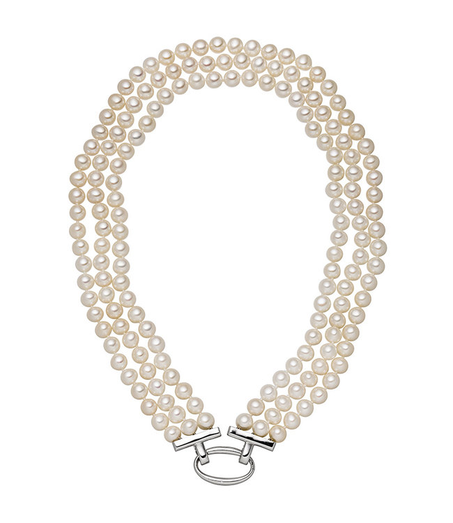 JOBO Pearl necklace with three rows freshwater pearls and silver clasp