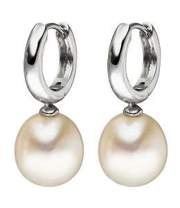 JOBO Wit gouden oorbellen met zoetwaterparels