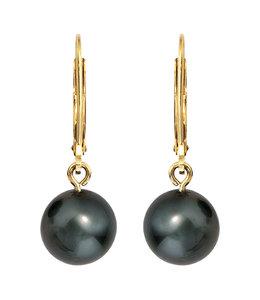 JOBO Golden earrings with Tahiti pearl