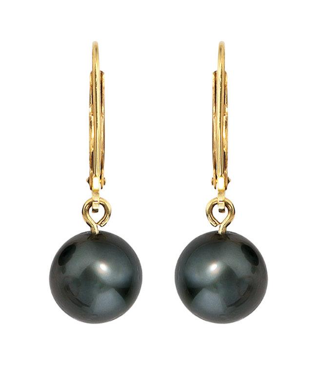JOBO Golden earrings 14 carat with Tahiti pearls