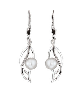 JOBO White gold earrings with pearls and diamonds