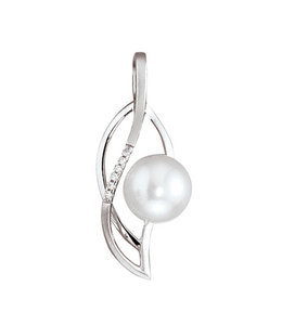 JOBO White gold pendant with pearl and 6 diamonds