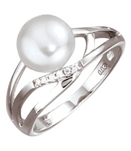 Aurora Patina White gold ring with pearl and 6  diamonds