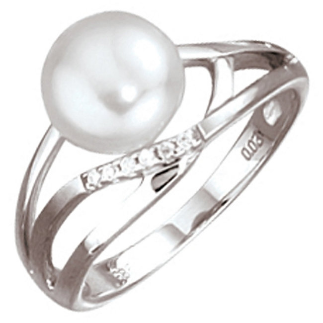 White gold ring 14 carat with pearl and brilliant cut diamonds