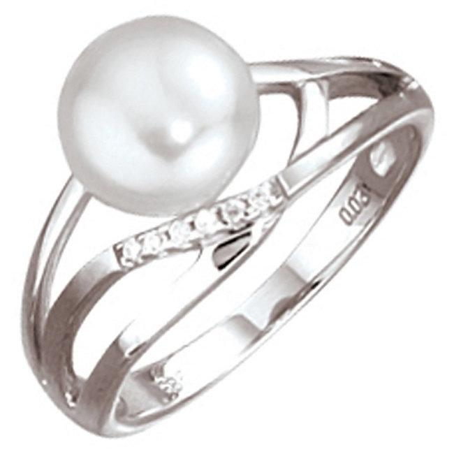Wit gouden ring 14 karaat met zoetwaterparel en briljanten