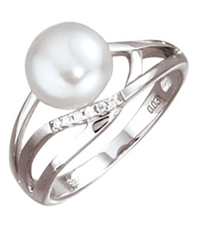 JOBO White gold ring 14 carat with pearl and brilliant cut diamonds