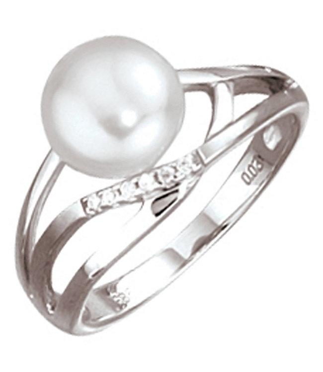 Aurora Patina Weißgold Ring 14 Karat mit Süßwasser Perle und Brillanten
