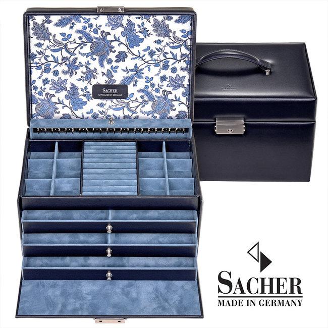 Jewelry case Jasmin navy blue leather