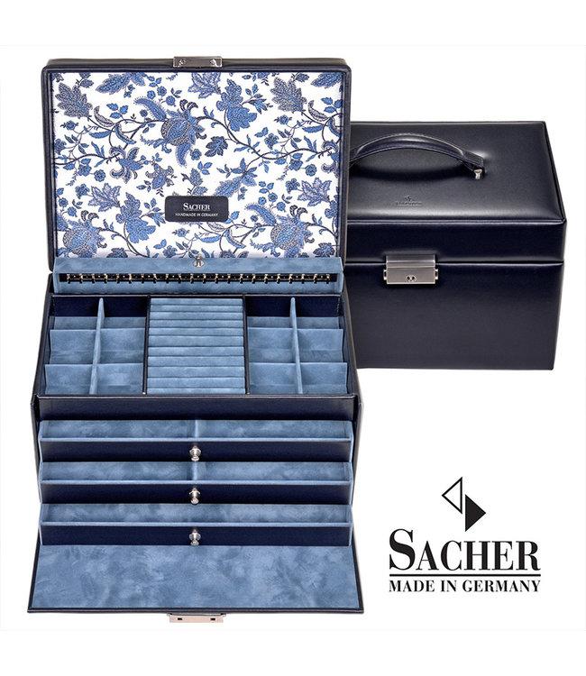 Sacher Jewelry case Jasmin navy blue leather